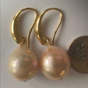 Large Edison (Kasumi-Like) Pearls - Gold Earrings